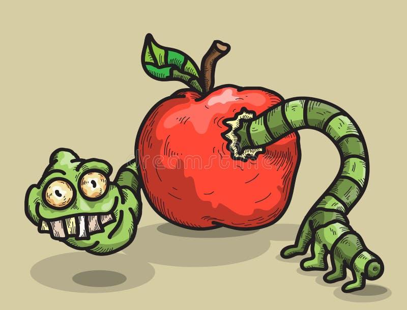 Dżdżownica i jabłko royalty ilustracja