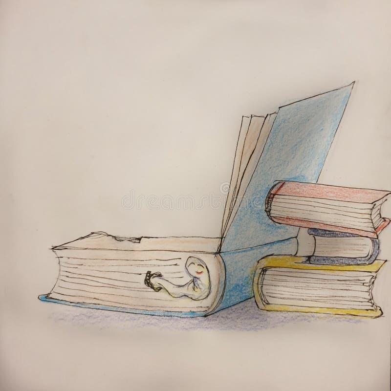 Dżdżownica w książce ilustracja wektor
