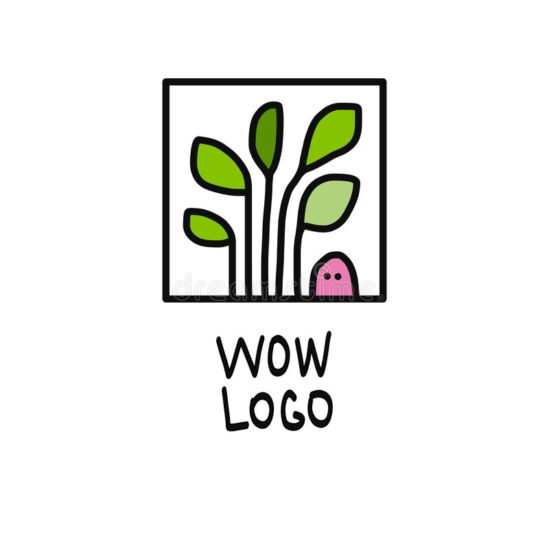 Dżdżownicy i rośliny loga ilustracja zdjęcie stock