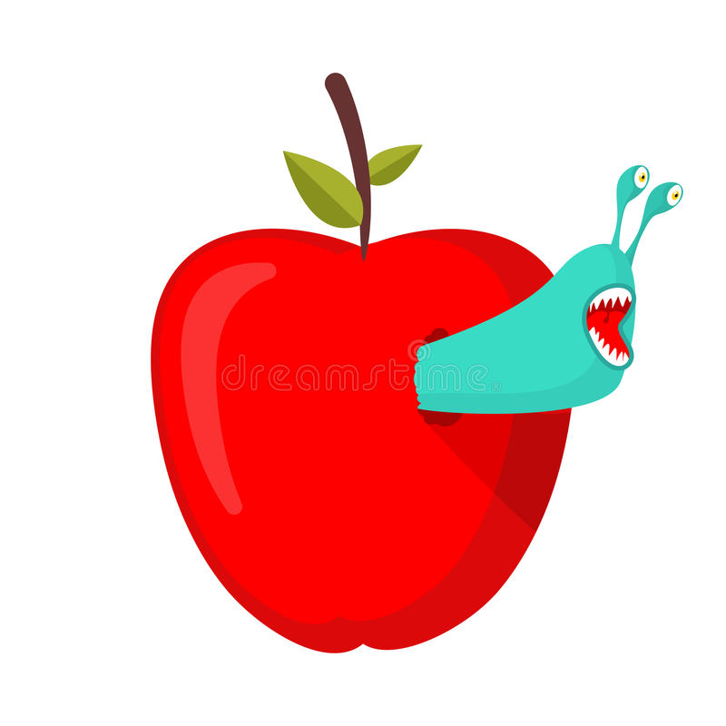 Dżdżownicy jedzą czerwonego jabłka Darmozjad zarazy w owoc royalty ilustracja
