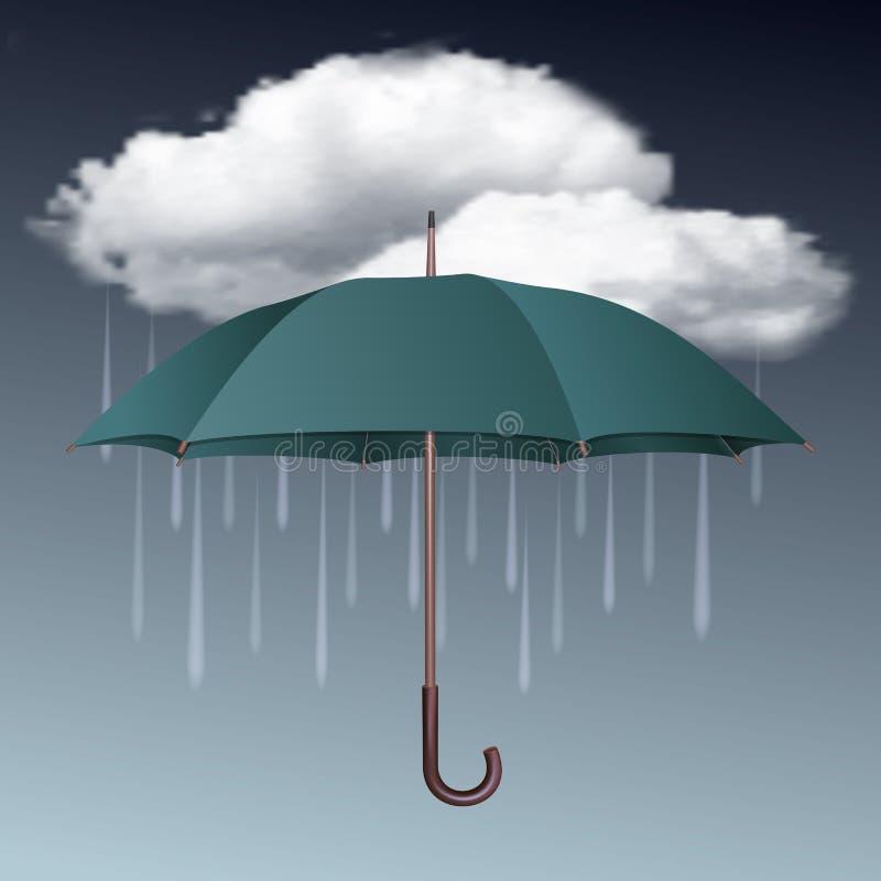 Dżdżysta pogodowa ikona z chmurami i parasolem royalty ilustracja