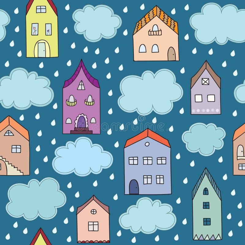 Dżdżystego miasta wektorowy bezszwowy wzór ilustracja wektor