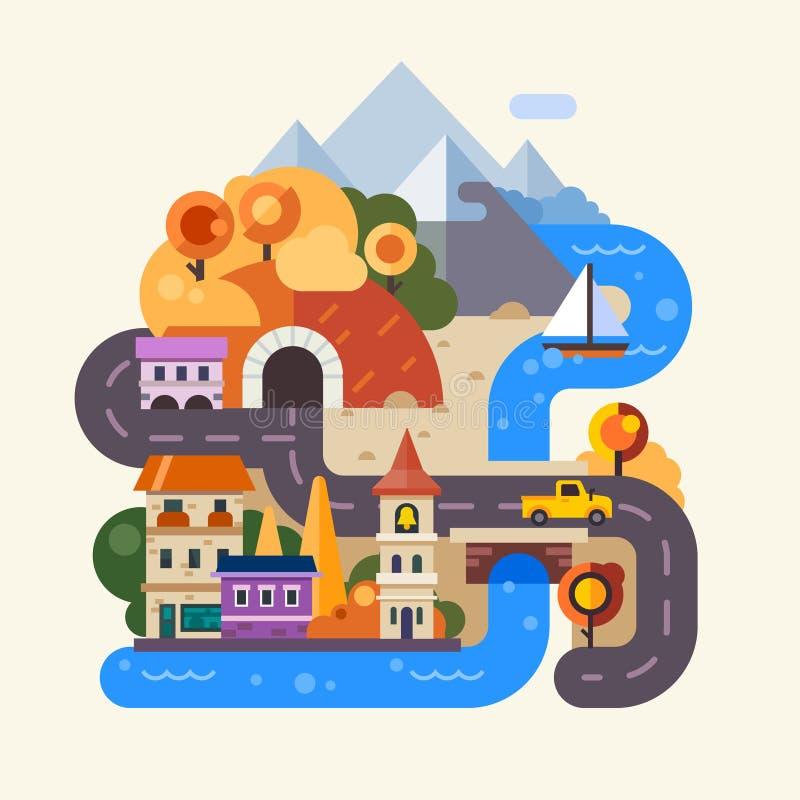 Dżdżysty jesień dzień w mieście royalty ilustracja