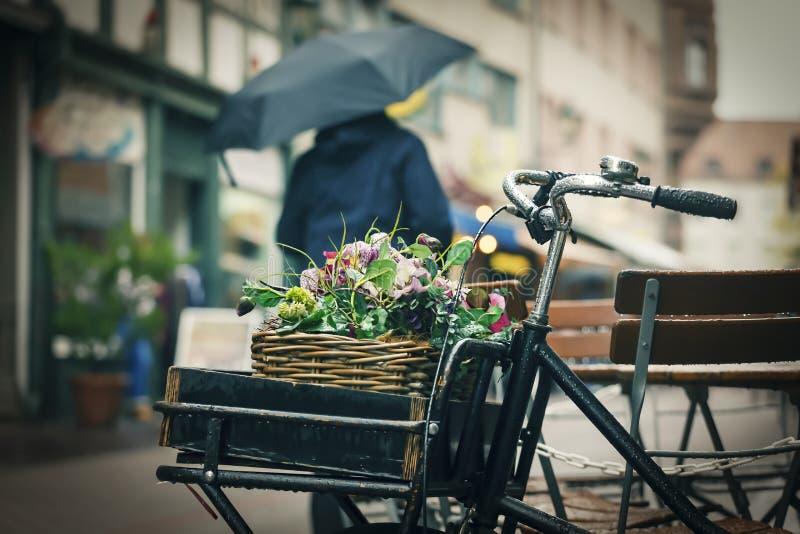 D?d?ysty lato, jesie? czas, wiosna, kosz, kwiaty, kolarstwo, outside, w Europejskim mie?cie fotografia stock