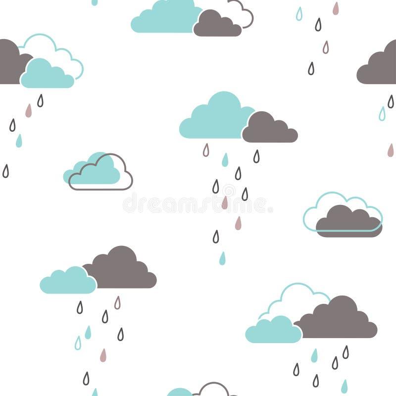 Dżdżystych chmur bezszwowy wzór ilustracja wektor