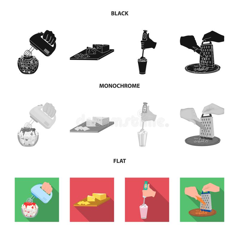 Dżem, dieta, akcesoria i inna sieci ikona w czarnym, płaski, monochromu styl kucharz, wyposażenie, urządzenie, ikony w secie royalty ilustracja