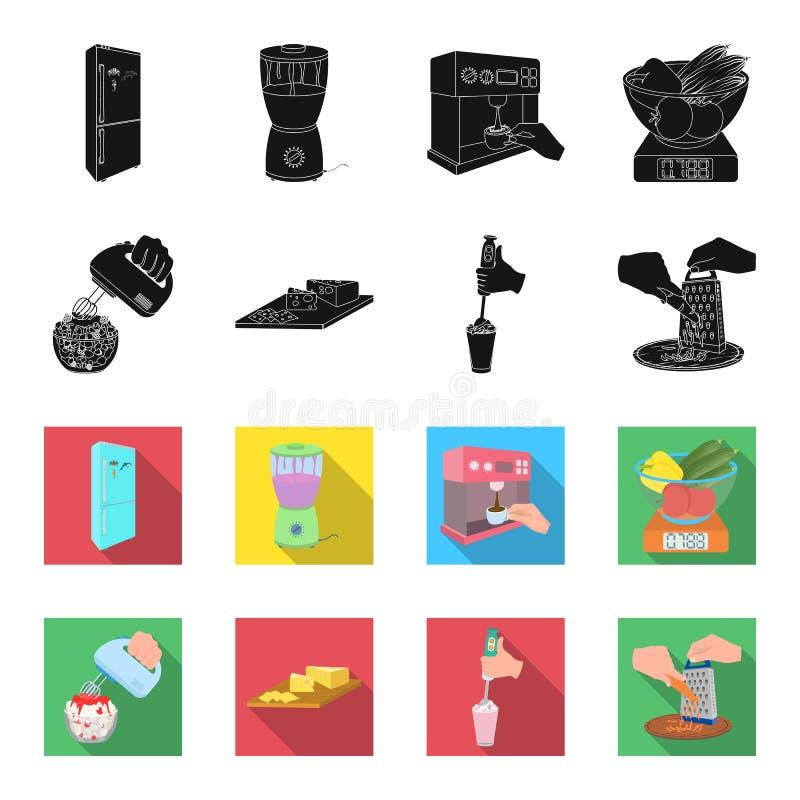, dżem, dieta, akcesoria i inna sieci ikona w czerni, fleta styl kucharz, wyposażenie, urządzenie, ikony w ustalonej kolekci ilustracji