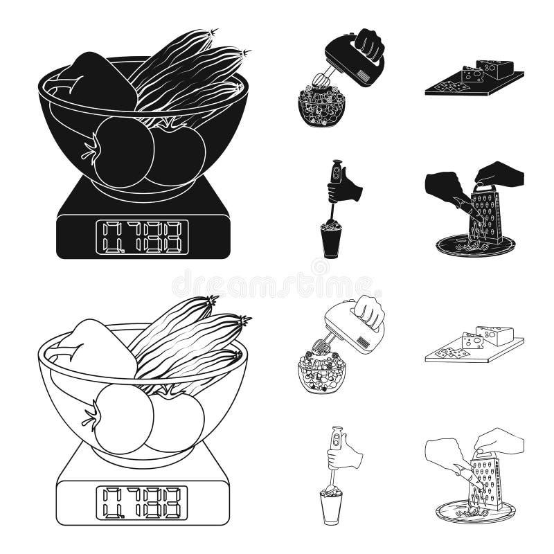 , dżem, dieta, akcesoria i inna sieci ikona w czerni, konturu styl kucharz, wyposażenie, urządzenie, ikony w ustalonej kolekci ilustracji