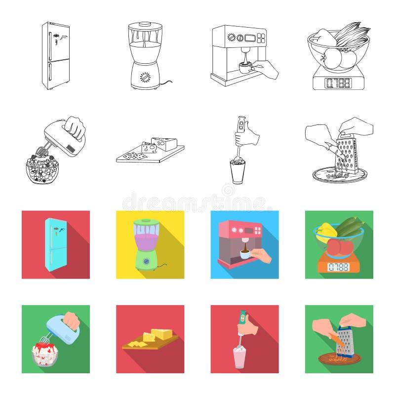 , dżem, dieta, akcesoria i inna sieci ikona w konturze, mieszkanie styl kucharz, wyposażenie, urządzenie, ikony w ustalonej kolek ilustracji