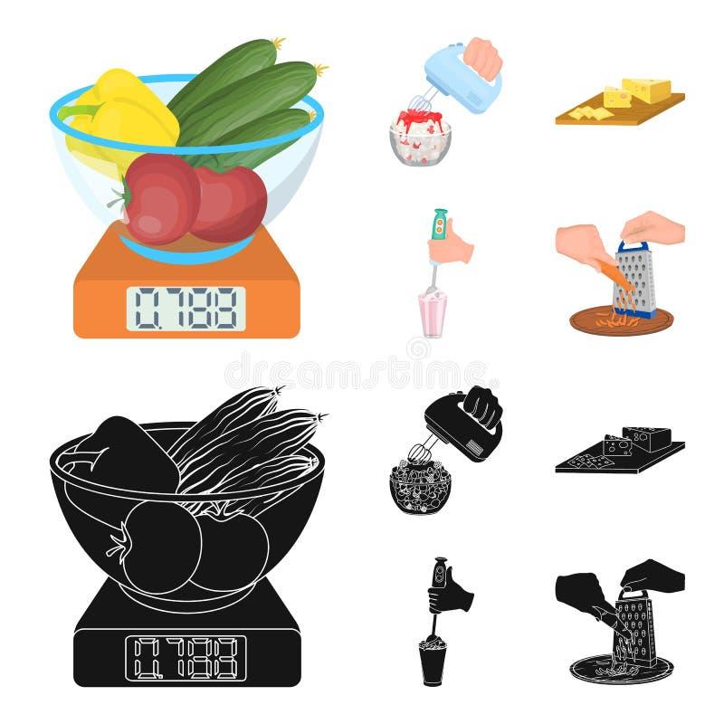, dżem, dieta, akcesoria i inna sieci ikona w kreskówce, czerń styl kucharz, wyposażenie, urządzenie, ikony w ustalonej kolekci ilustracja wektor
