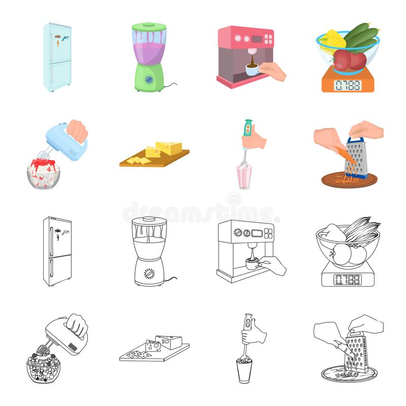 , dżem, dieta, akcesoria i inna sieci ikona w kreskówce, konturu styl kucharz, wyposażenie, urządzenie, ikony w ustalonej kolekci ilustracja wektor