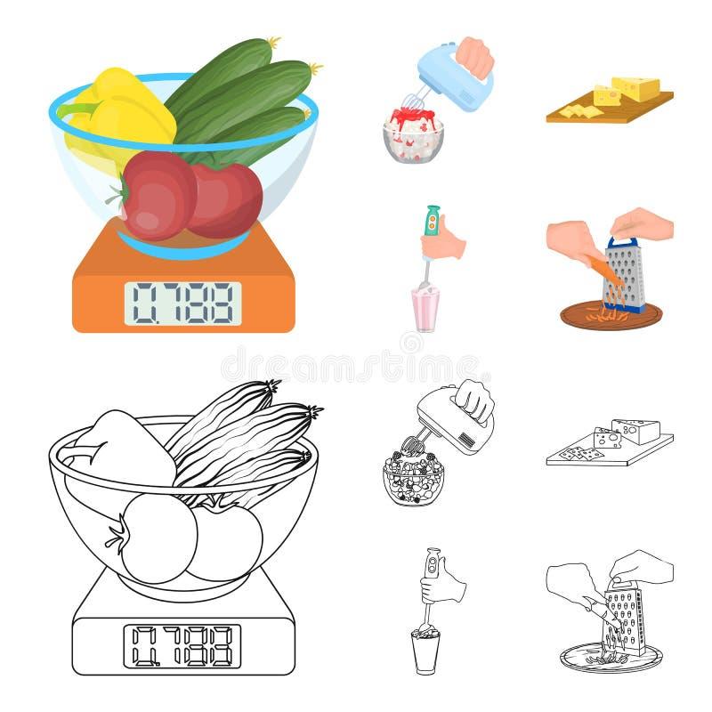 , dżem, dieta, akcesoria i inna sieci ikona w kreskówce, konturu styl kucharz, wyposażenie, urządzenie, ikony w ustalonej kolekci royalty ilustracja