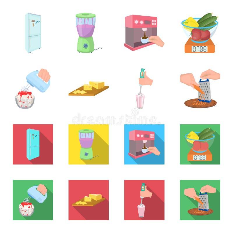 , dżem, dieta, akcesoria i inna sieci ikona w kreskówce, mieszkanie styl kucharz, wyposażenie, urządzenie, ikony w ustalonej kole royalty ilustracja
