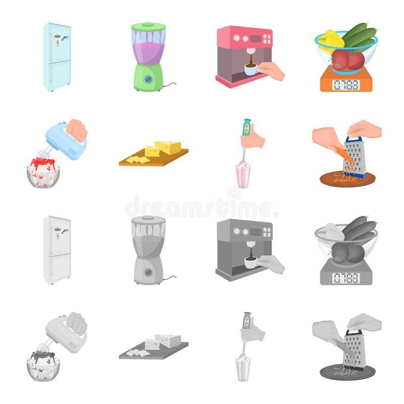 , dżem, dieta, akcesoria i inna sieci ikona w kreskówce, monochromu styl kucharz, wyposażenie, urządzenie, ikony w secie ilustracji