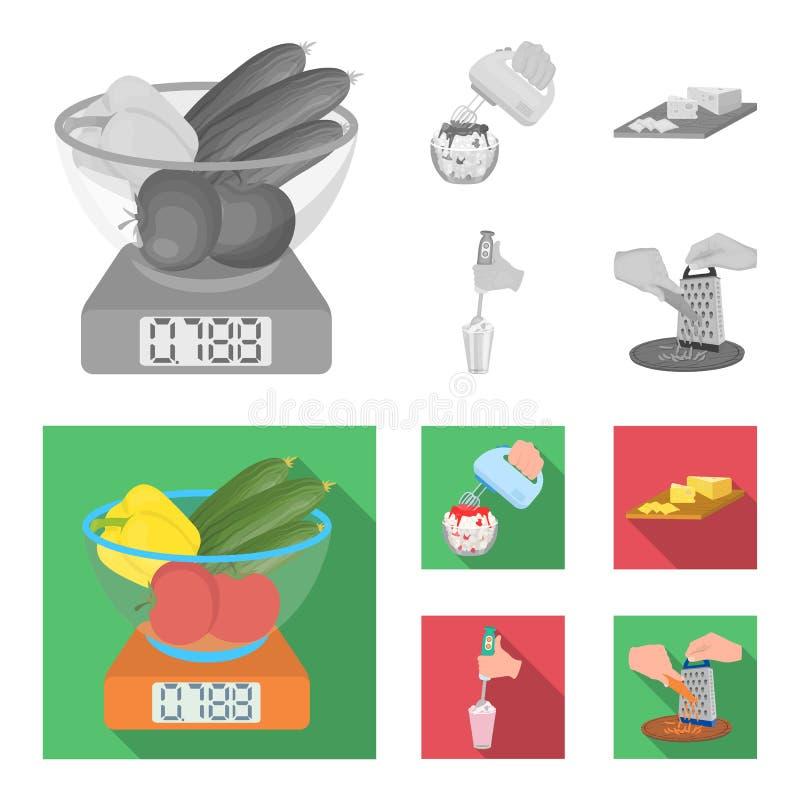 , dżem, dieta, akcesoria i inna sieci ikona w monochromu, mieszkanie styl kucharz, wyposażenie, urządzenie, ikony w ustalonej kol royalty ilustracja