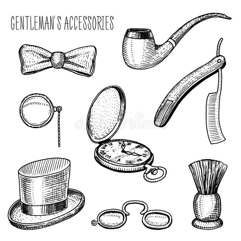 Dżentelmenów akcesoria modniś lub biznesmen, wiktoriański era grawerująca ręka rysująca w starym rocznika nakreśleniu Butla kapel ilustracja wektor