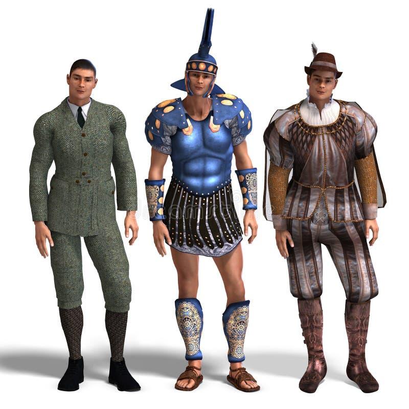 dżentelmenów różni stroje rzymski Romeo trzy ilustracji