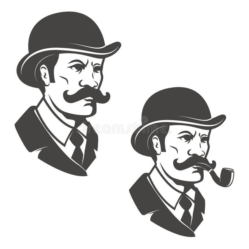 Dżentelmen głowa z rocznika kapeluszem z dymienie drymbą Projektów elemen ilustracja wektor
