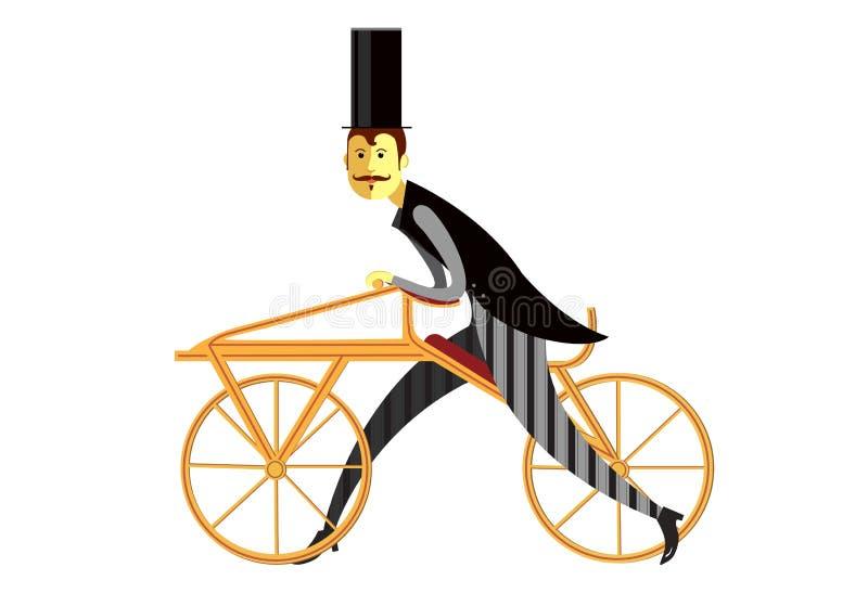 Dżentelmen na draisienne lub hobby końskim retro rowerze ilustracja wektor