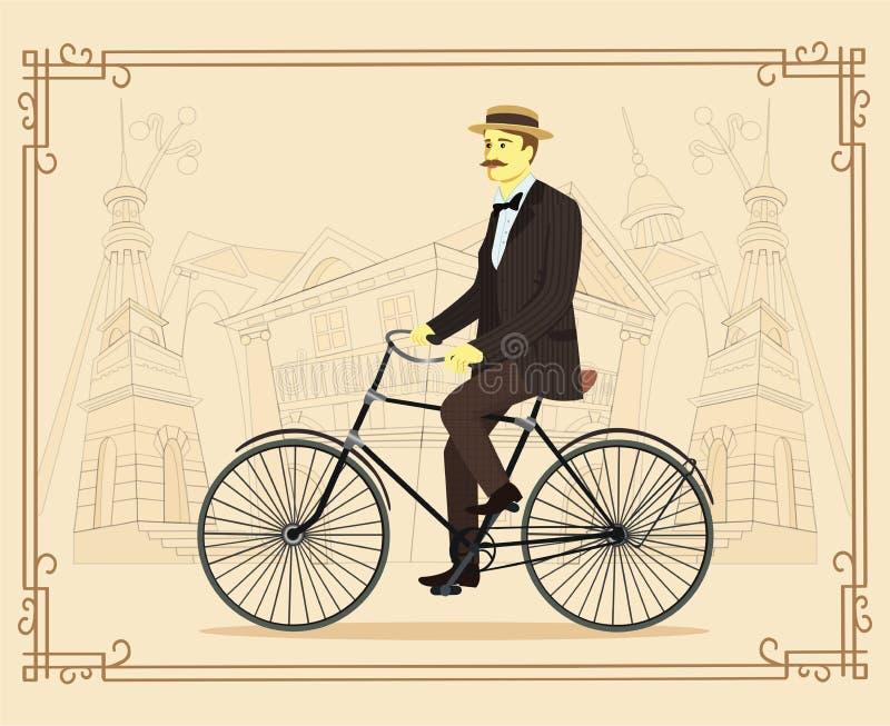 Dżentelmen na retro rocznika starym bicyklu na starym miasto wektorze ilustracja wektor