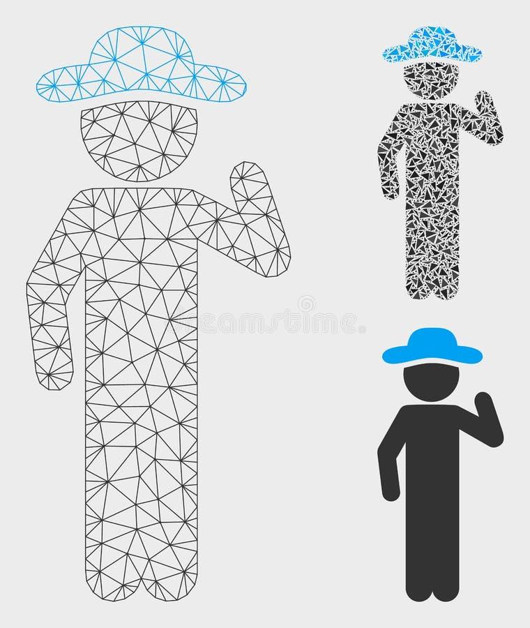 Dżentelmen siatki Drucianej ramy trójboka i modela mozaiki Poglądowa Wektorowa ikona royalty ilustracja