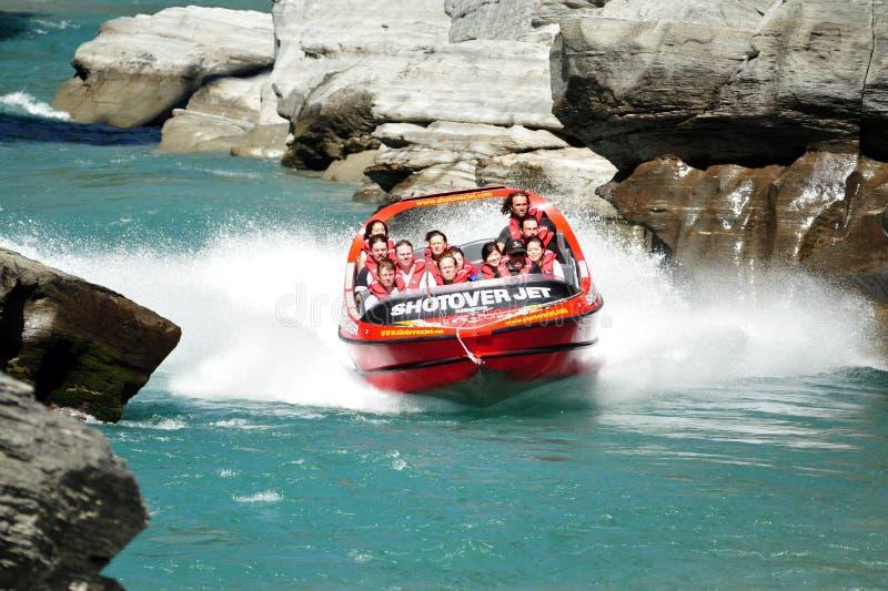Dżetowa łódź w Queenstown Nowa Zelandia zdjęcie royalty free