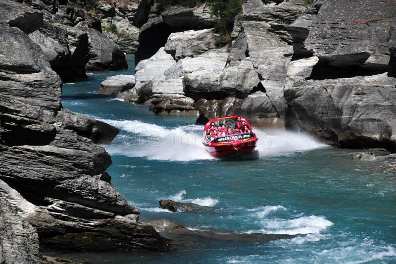 Dżetowa łódź w Queenstown Nowa Zelandia fotografia royalty free