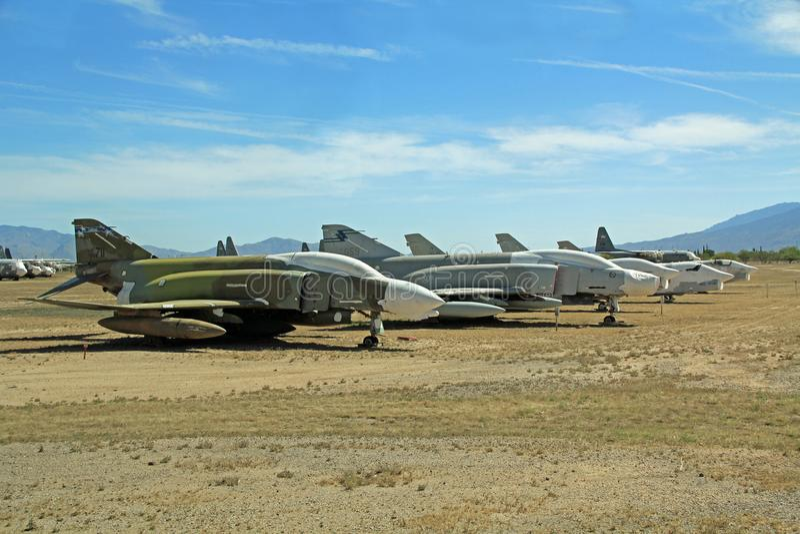 Dżetowi samoloty w Pima Lotniczym i Astronautycznym muzeum obraz stock