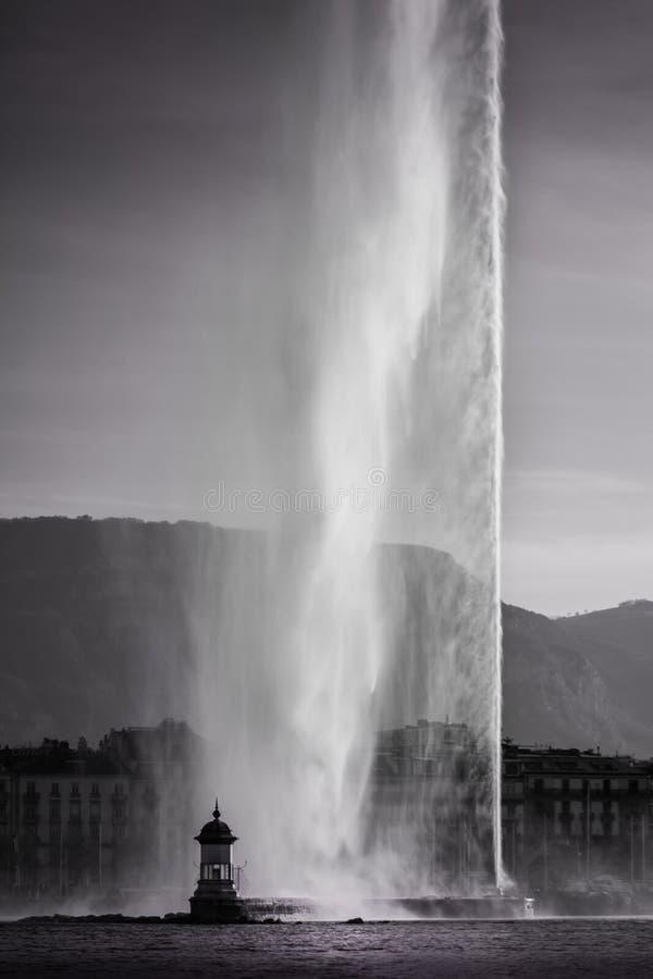 Dżetowy d ` Eau - Genewa zdjęcie stock
