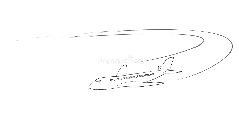 Dżetowy samolot z opary wlec w ręka rysującym stylu ilustracji