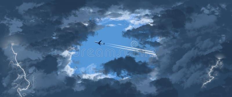 Dżetowy samolot zobaczy przez otwarcia w ciemnienie chmurach gdy ono lata przez niebieskie niebo inaczej ilustracja wektor