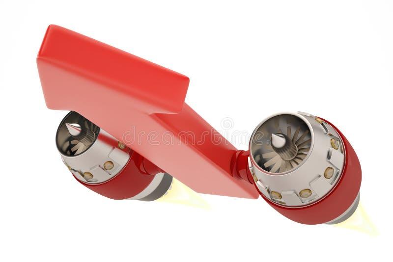 Dżetowy silnik na czerwonych strzała r pojęcie ilustracja 3 d ilustracja wektor