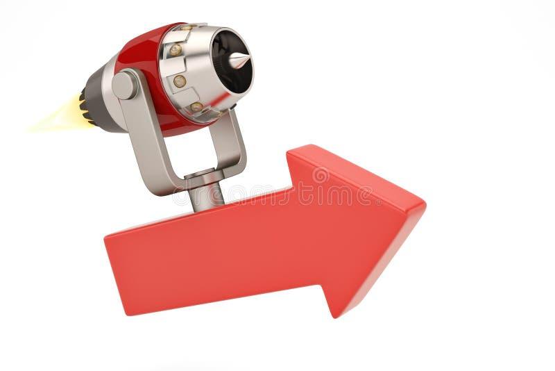 Dżetowy silnik na czerwonych strzała r pojęcie ilustracja 3 d ilustracji