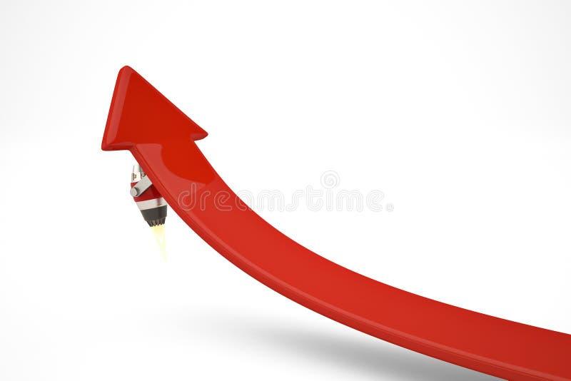 Dżetowy silnik na czerwonych strzała r pojęcie ilustracja 3 d royalty ilustracja