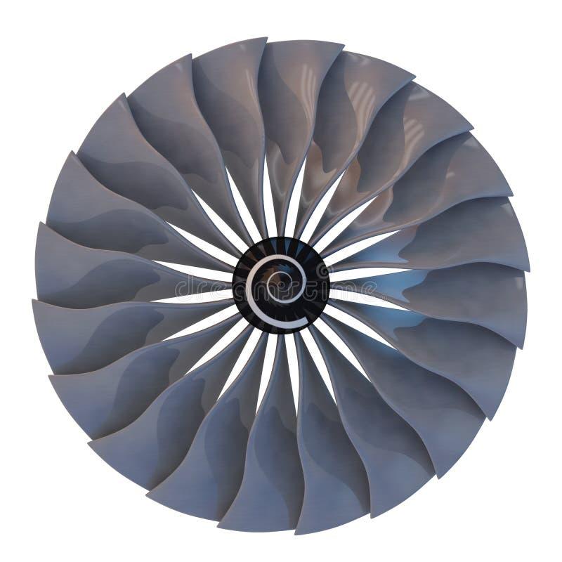 Dżetowy silnik, turbinowi ostrza samolot, 3d odpłaca się ilustracja wektor