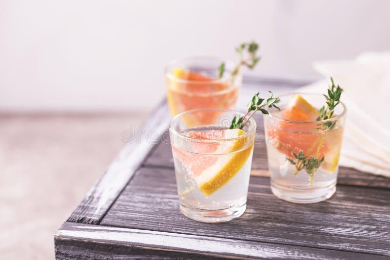 Dżin gorzka cytryna z tymiankowym i grapefruitowym zdjęcia stock