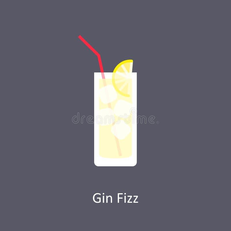 Dżinu Fizz koktajlu ikona na ciemnym tle royalty ilustracja