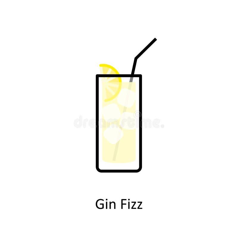 Dżinu Fizz koktajlu ikona w mieszkanie stylu ilustracja wektor