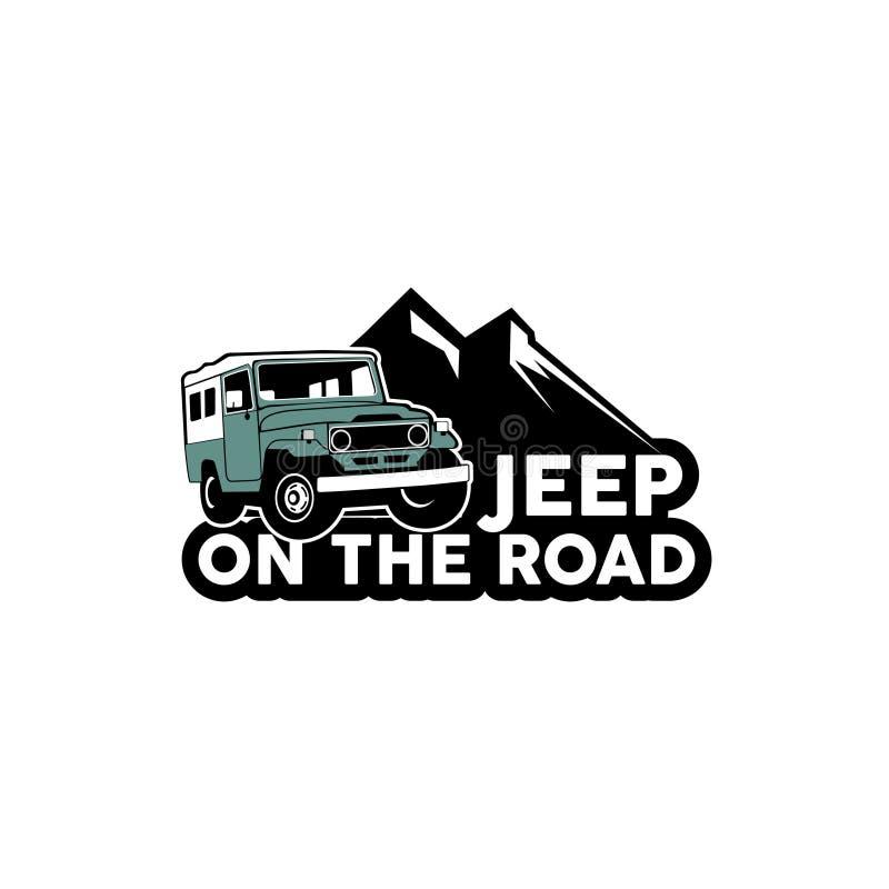 Dżip na drogowym logo wektorze ilustracji