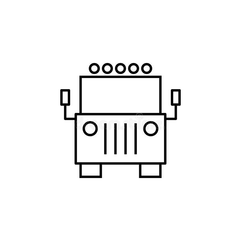 Dżip, przód, widoku konturu ikona Może używać dla sieci, logo, mobilny app, UI, UX ilustracji