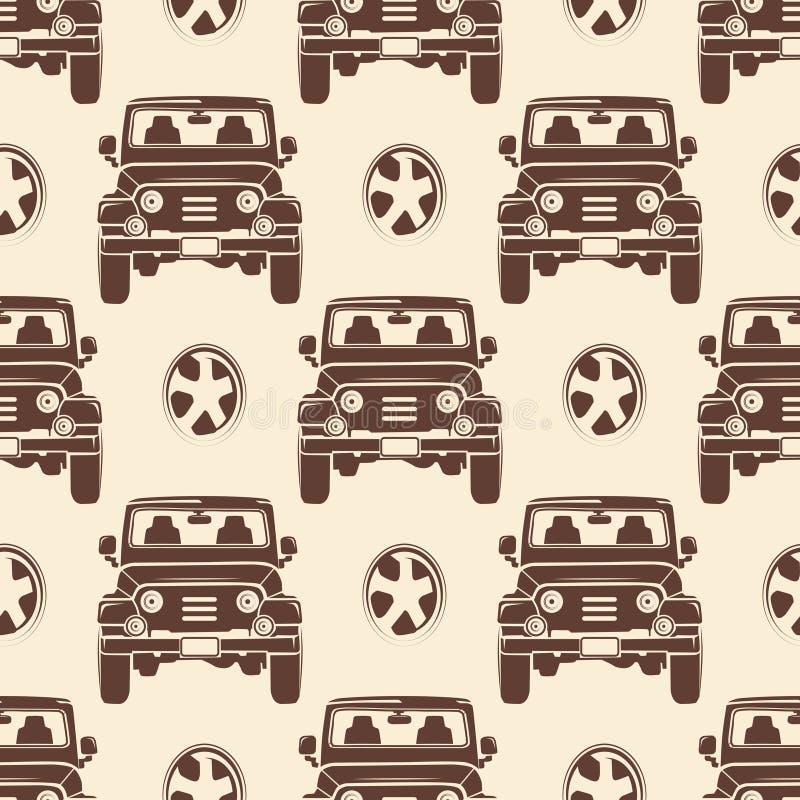 Dżipa bezszwowy deseniowy projekt - rocznik bezszwowa tekstura z samochodami ilustracja wektor