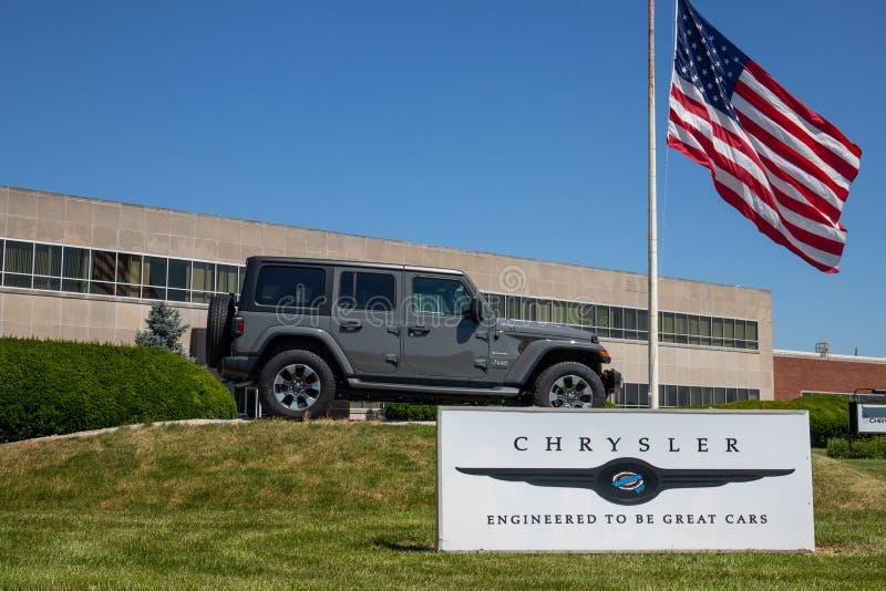 Dżipa Wrangler na pokazie przy Chrysler rośliną Filie FCA są Chrysler, Dodge, dżip i baran VI, zdjęcia royalty free