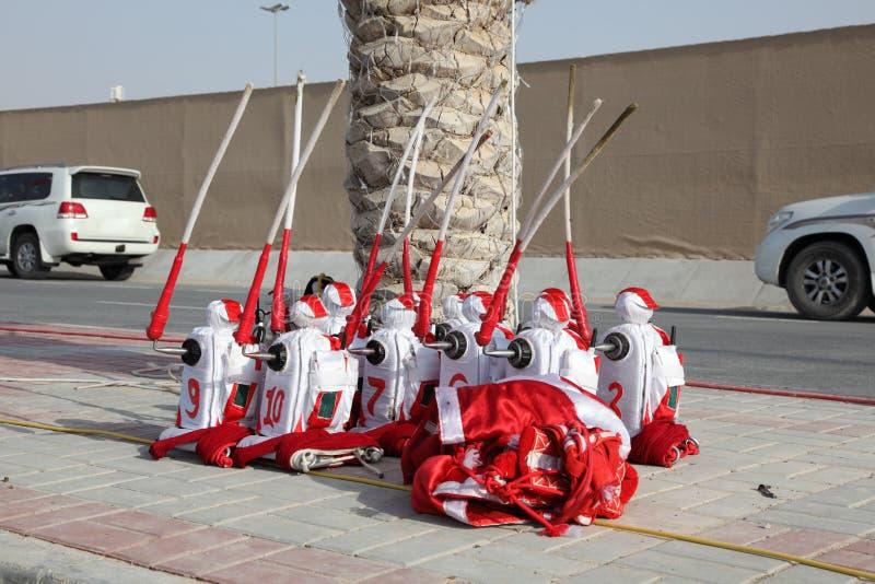 Dżokejów roboty przy wielbłąd rasą zdjęcie stock