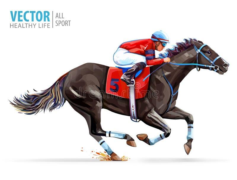 Dżokej na bieżnym koniu derbyshire sport Wektorowa ilustracja odizolowywająca na biały tle royalty ilustracja