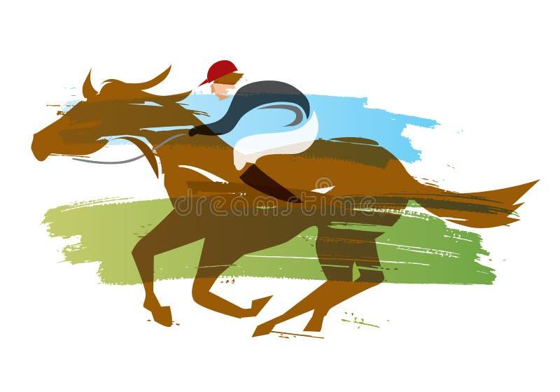 Dżokej na koniu, wyścigi konny ilustracji