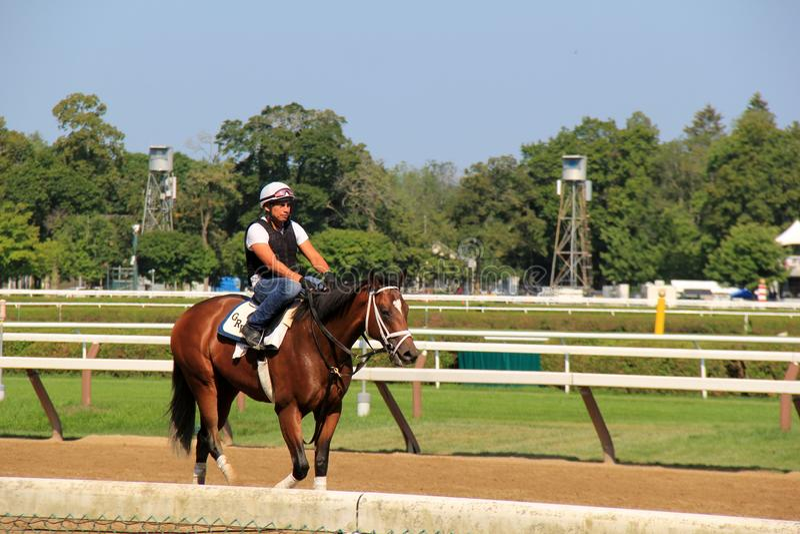 Dżokeja obsiadanie na koniu, jedzie wokoło śladu, Saratoga Racecourse, Nowy Jork, 2017 zdjęcia stock