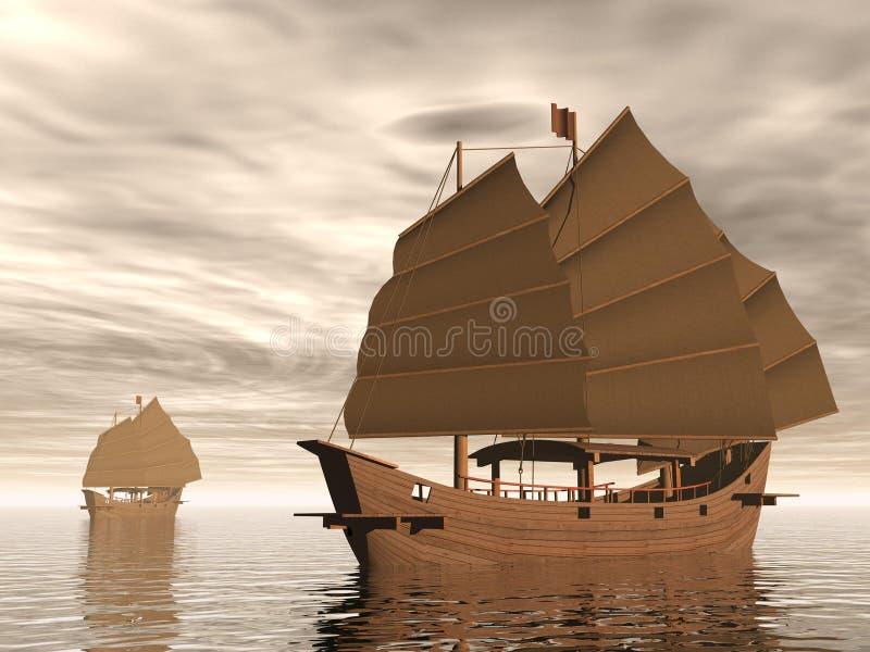 Dżonka statki - 3D odpłacają się ilustracji