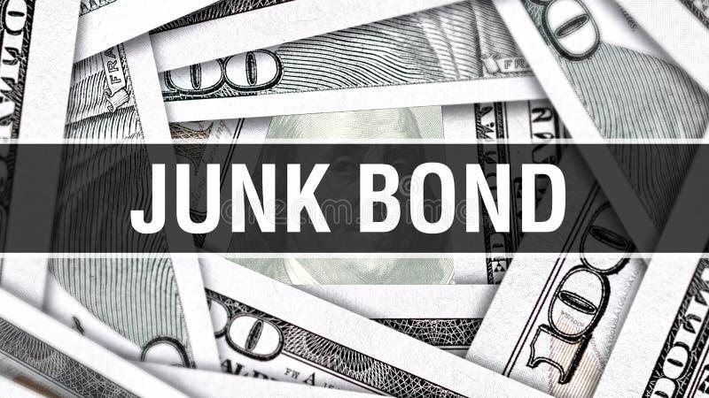 Dżonki więzi zbliżenia pojęcie Amerykańscy dolary Gotówkowego pieniądze, 3D rendering Dżonki więź przy Dolarowym banknotem Pienię ilustracji