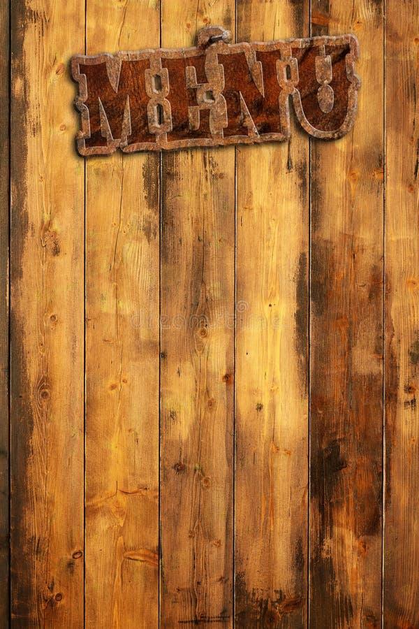 Dżumowy menu przybijający na drewno ścianie royalty ilustracja