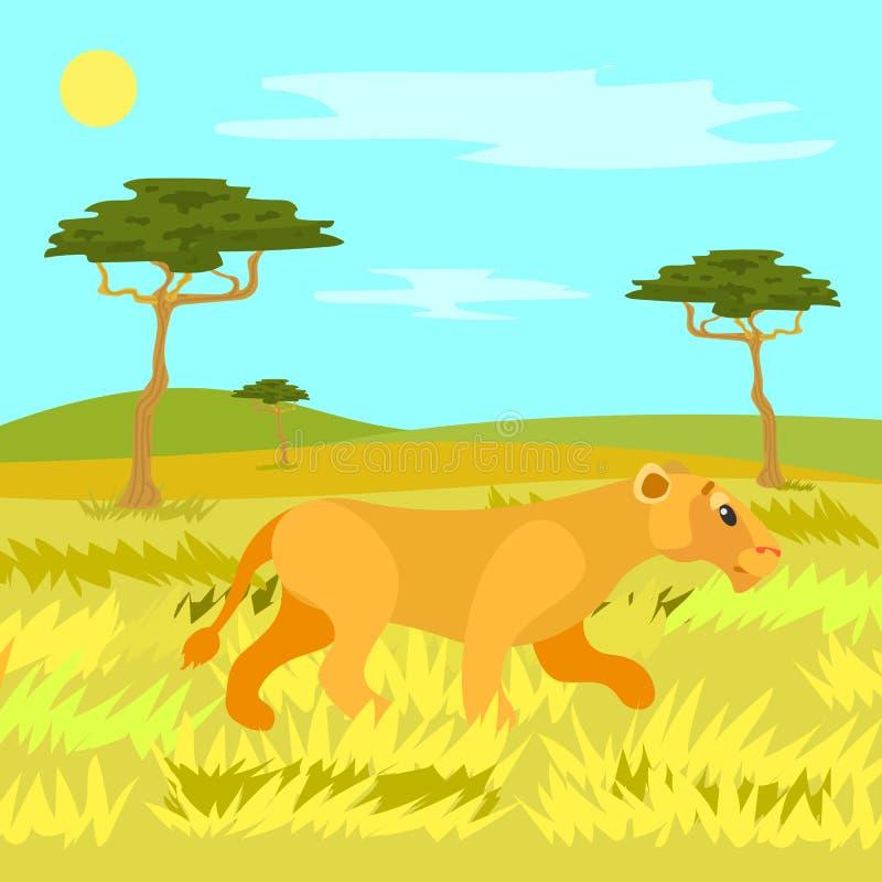 Dżungla safari, Dzika natura i zwierzę lwica, royalty ilustracja